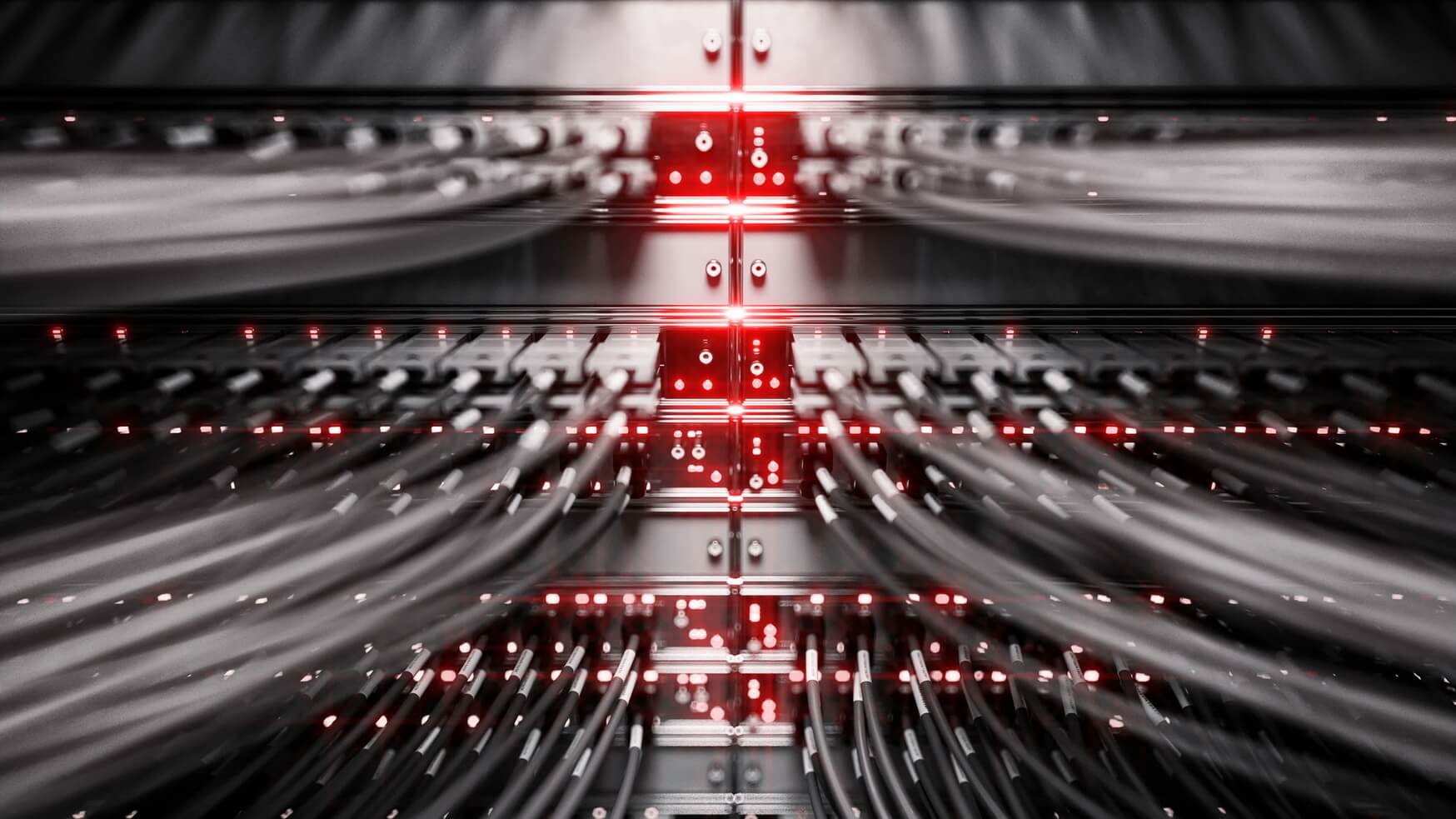 Vollbelastung Netzwerk-Media-Konverter und Ethernet-switches wiederholbar Video. 3D-Rendering
